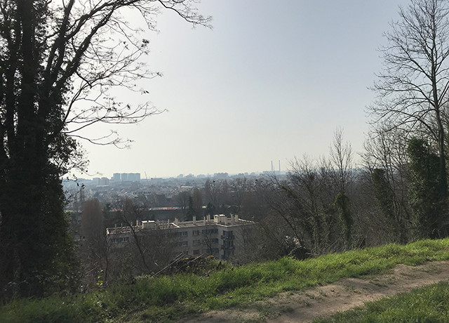 Photo du ciel parisien lors de l'épisode de pollution aux PM10 du 3 mars 2021